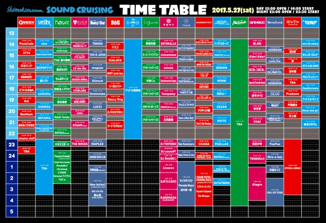 SOUND CRUISING 2017 タイムテーブル
