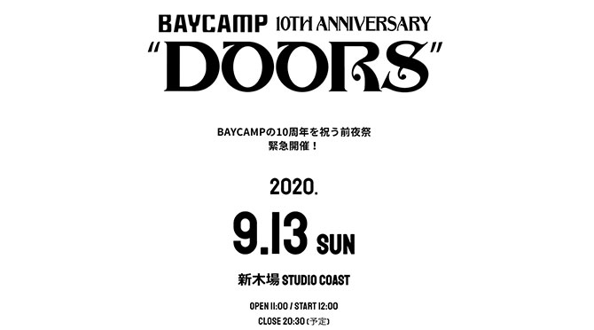 BAYCAMP 10th anniversary DOORS